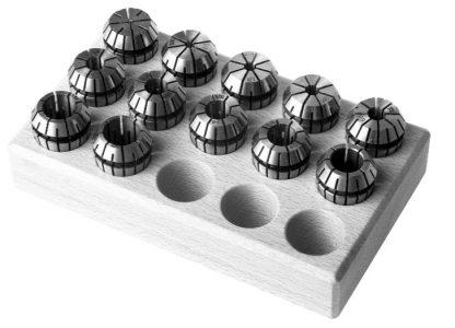 Spantangen set ER40 in houten blok